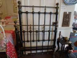 Heavy Brass and Iron French Single Bedstead at Staveley Antiques.