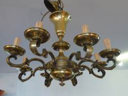 8 Branch Brass Electrolier at Staveley Antiques