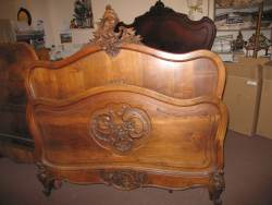 Walnut Beautifully carved Double Bedstead At Staveley Antiques