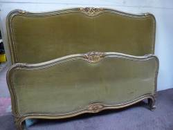 French carved kingsize, painted Bedstead At Staveley Antiques