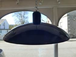 1950s 15 inch diameter Blue Industrial pendant light at Staveley Antiques