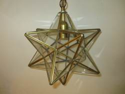 Multi Prism Brass and Glass ceiling light at Staveley Antiques