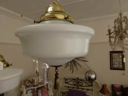 1920s opaline ceiling pendant with unusual little tassel detail to base at Staveley Antiques